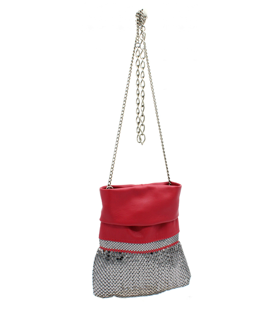 9c80f725ff102 Velvet Red Leather Disco Bag - Laura B Collection Particulière