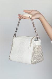 Bauletto Handbag White python-white