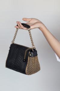 tto Mini Handbag Black python-gold