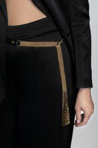 Dominique Belt Black python-gold