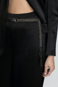 Dominique Belt BlackSilver Suede-gunmetal