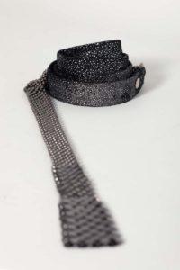 Dominique Belt Silver suede-gunmetal