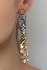 Eiffel Earrings Gold-Blues