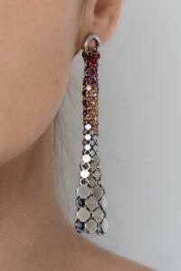 Eiffel Earrings Silver-Red-Pink