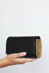 Irina Clutch Black smooth leather-Gold