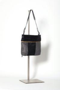 Marcela Croco Disco Bag black-silver-black