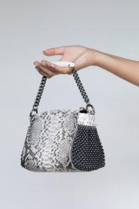 Mini Bauletto Natural python-Silver mesh