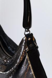Nedime Pleated Bag Black leather- Gunmetal -Black