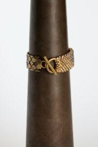 Sareen Bracelet gold-grey pink toggle clasp