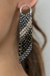 Sasha Earrings Silver-Black